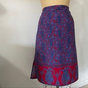 Vintage Paisley Midi Skirt. Size 12